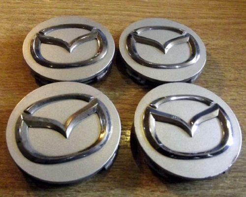 Wheel centre caps, Mazda MX-5, 56mm, silver, wings badge, set of 4, USED, 14
